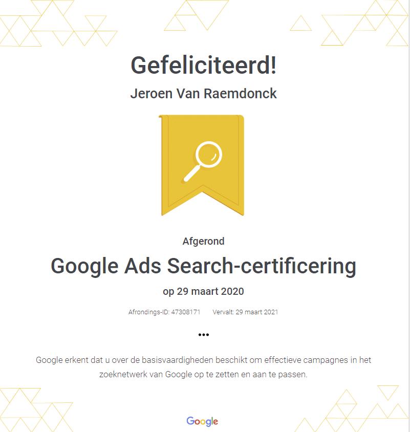 Google Ads certificaat